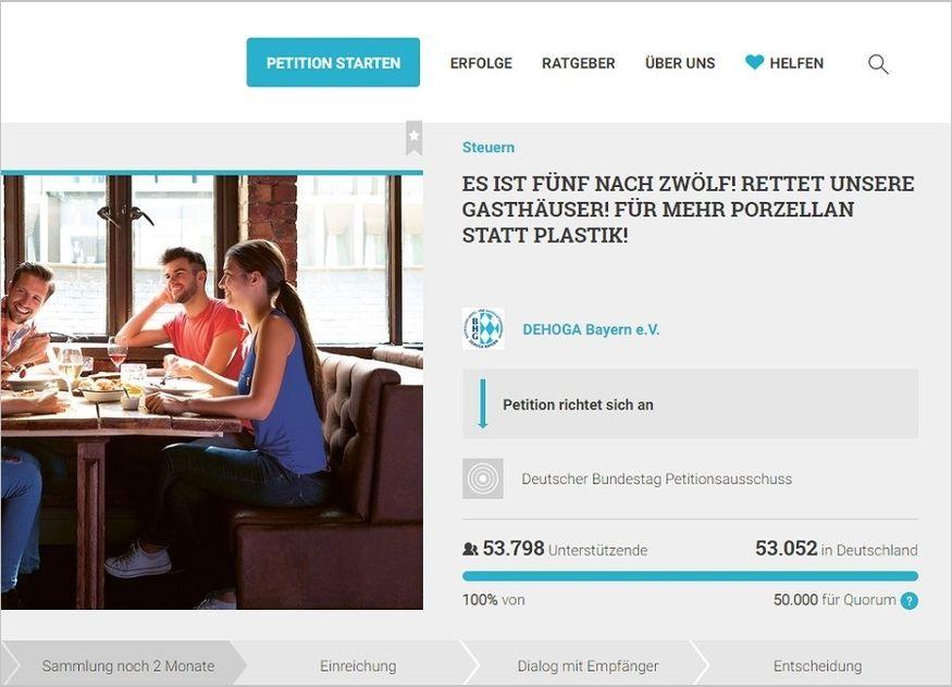 Online Petition DEHOGA Bayern