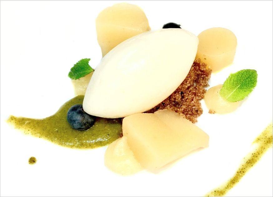Agaven-Apfelsorbet, Birnengel, Orangen-Minzpaste, Zimt-Amaranth