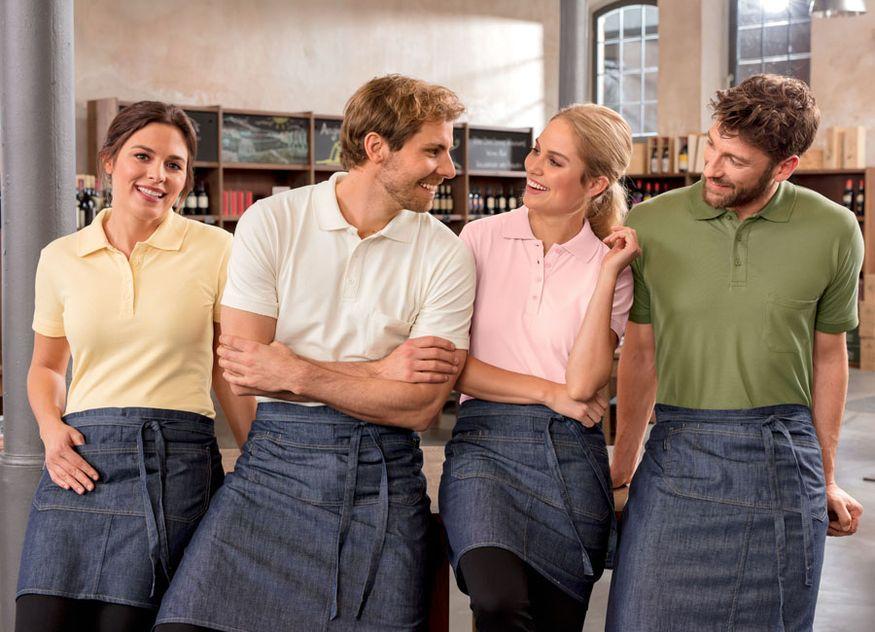 Jobeline Vega Südback Cato Shirt-Serie knitterfrei pflegeleicht Piquéware Sanitized-Hygienefunktion Schürze