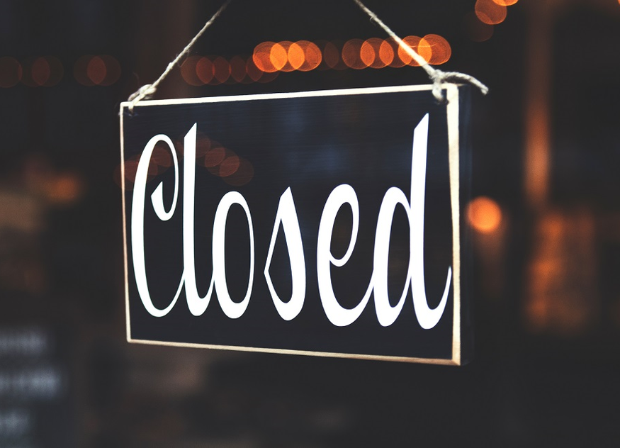Schild geschlossen closed