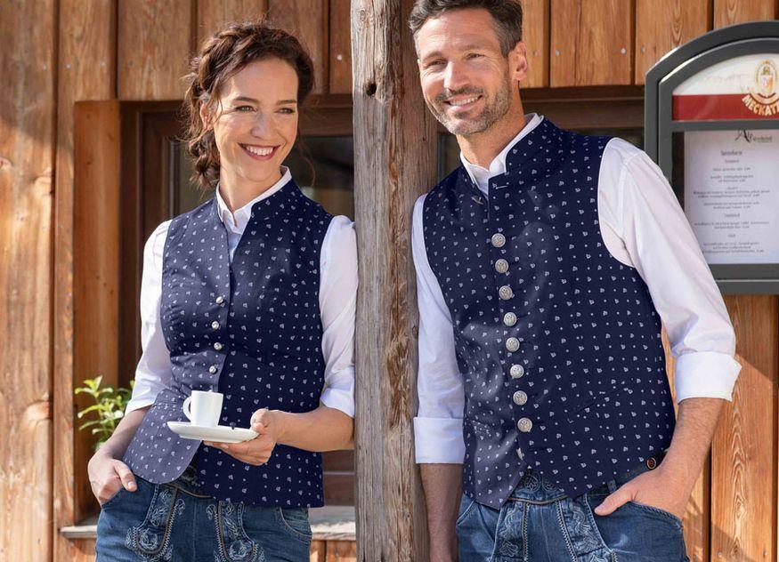 Jobeline Trachtenweste Lenz blau weiß Mode Servicealltag Oktoberfest Wiesn Gastronomie Servicekleidung Berufskleidung