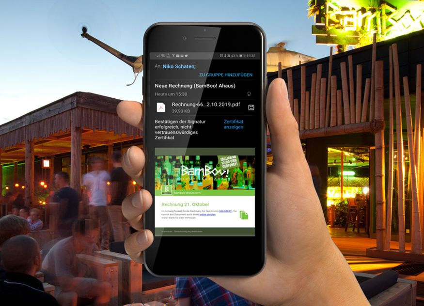 Tobit.Software Gastronomie wayter Einkaufen Shopping Bon digital online Smartphone Belegausgabepflicht
