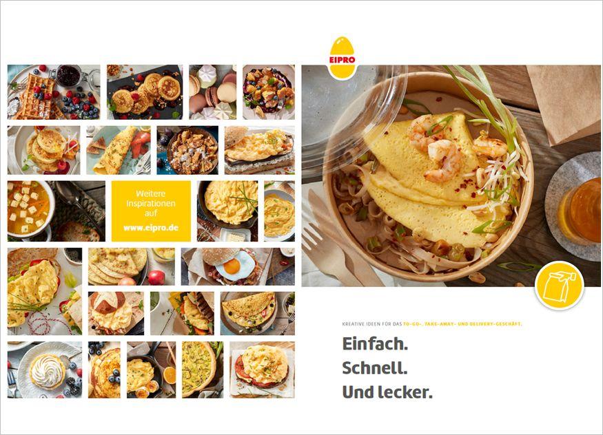 Mit einem neuen Rezeptfolder liefert Eipro mehrere Rezepte mit Ei für das To-Go, Take away und Delivery-Geschäft in der Gastronomie