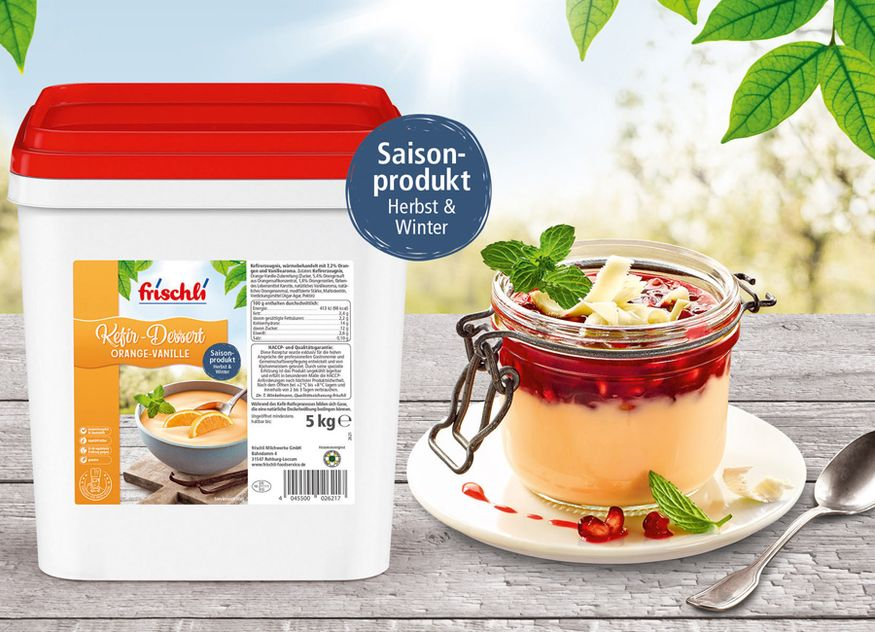frischli Kefir Dessert Orange Vanille September Gastronomie Herbst Winter Saison 2019
