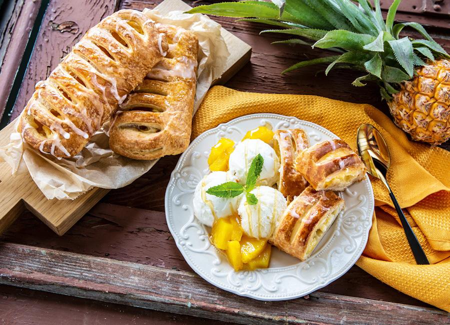 Edna Gastronomie Ananas Quarktasche Frucht Quark